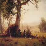 Albert Bierstadt (1830-1902)  Guerrilla Warfare: Picket Duty in Virginia  Oil on panel, 1862  15 1/2 x 18 1/2 inches (39.4 x 47.3 cm)  The Century Association, New York